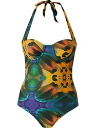 Blue Man Feather Print Swimsuit