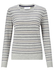 Collection Weekend By John Lewis Crew Neck Cashmere Stripe Jumper Grey Blue