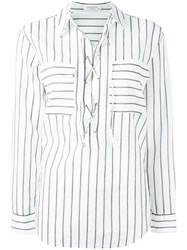 Equipment Lace Up Neck Striped Shirt White