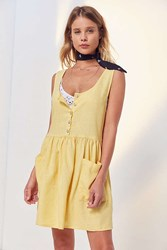 Cooperative Oversized Linen Babydoll Dress Yellow