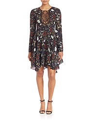 A.L.C. Cynthia Fit And Flare Silk Dress Black Red