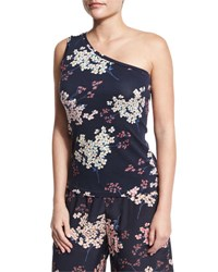 Rebecca Taylor Phlox Floral Print Jersey One Shoulder Tank Navy