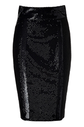Lwren Scott Black Silk Mesh Embroidered Pencil Skirt