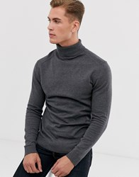 Selected Homme Roll Neck Knit In Grey