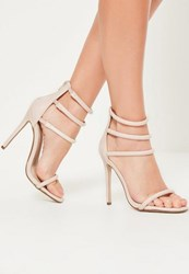 Missguided Nude Multi Strap Barely There Heels