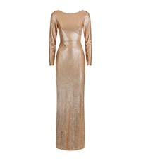 Reiss Orion Draped Back Shimmer Maxi Dress Female Gold