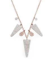 Meira T Pave Diamond 14K Rose And White Gold Charm Necklace Rose Gold White Gold