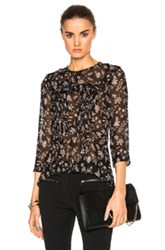Veronica Beard Thompson Ruffle Top In Black Floral Black Floral
