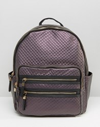 New Look Metallic Quilted Backpack Bright Purple