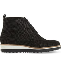 Dune Padmore Reptile Embossed Leather Ankle Boots Black Leather
