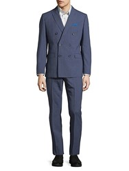 Tallia Striped Double Breasted Wool Suit Blue White
