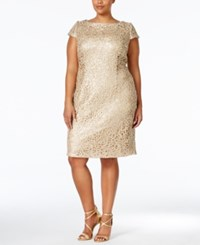 Adrianna Papell Plus Size Sequined Lace Shift Dress Gold