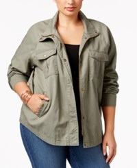 Style And Co Plus Size Cotton Embroidered Utility Jacket Only At Macy's Morrocan Embellished Sage
