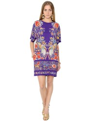 Roberto Cavalli Flower Printed Silk Crepe Dress