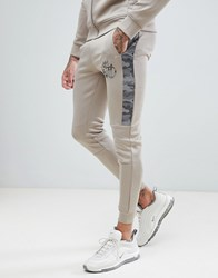 Kings Will Dream Skinny Joggers With Camo Side Stripes Stone