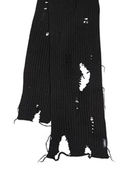 Diesel Destroyed Alpaca Blend Knit Scarf Black