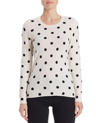 Lord And Taylor Cashmere Polka Dot Sweater Black