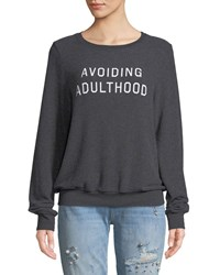 Wildfox Couture Avoiding Adulthood Graphic Crewneck Sweatshirt Top Black