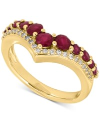 Macy's Ruby 1 1 3 Ct. T.W. And Diamond 1 8 Ct. T.W. Chevron Ring In 14K Gold Yellow Gold