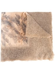 Avant Toi Distressed Patchwork Scarf Brown