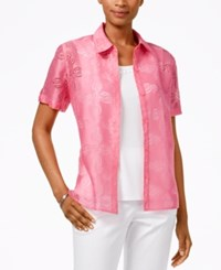 Alfred Dunner Petite Layered Look Burnout Blouse Flamingo