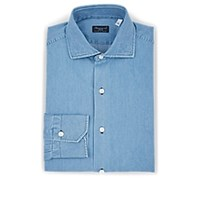 Finamore Cotton Chambray Dress Shirt Blue