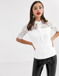 Morgan All Over Lace Blouse In Ivory White