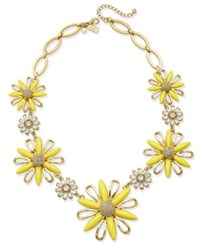 Kate Spade New York 12K Gold Plated Crystal And Yellow Stone Daisy Statement Necklace