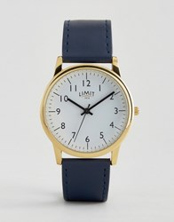 Limit Watch In Navy With Gold Dial Exclusive To Asos Navy