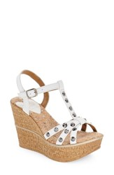 Women's Love And Liberty 'Violet' Spiked T Strap Wedge Sandal White Leather