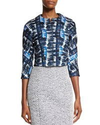 Oscar De La Renta Watercolor Plaid Jacquard Jacket Marine Blue