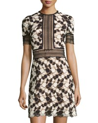 Catherine Deane Short Sleeve Floral Embroidered Mini Dress Black Cream Almnd