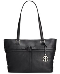 Giani Bernini Covered Ring Nappa Leather Tote Only At Macy's Black