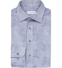 Etro Paisley Jacquard Slim Fit Cotton Shirt Grey