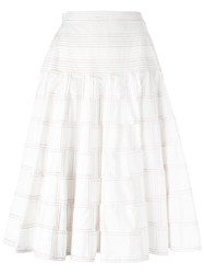 Thom Browne Flared Patchwork Skirt White