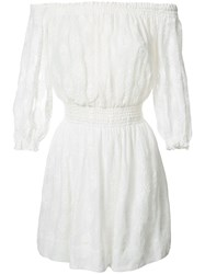 Rebecca Taylor Off Shoulder Dress Women Silk Cotton 10 White