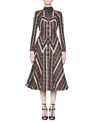 Olivier Theyskens Treves French Tartan Single Breasted A Line Dress Coat Multicolor Multi Pattern