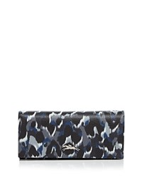 Longchamp Honore Panthere Leather Continental Wallet Gray Silver