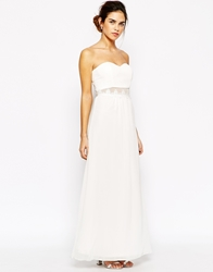 Elise Ryan Lace Sheer Insert Maxi Dress Cream