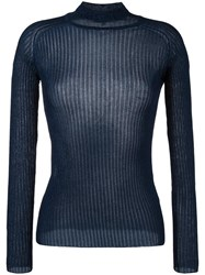 Carven Fitted Crew Neck Jumper Blue