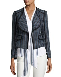 Derek Lam Striped Open Front Cardigan Jacket Denim