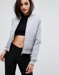 Lipsy Padded Bomber Jacket Gray