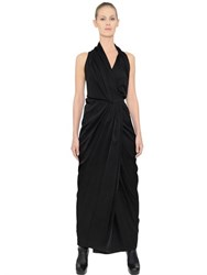 Rick Owens Limo Shiny Viscose Crepe Wrap Dress