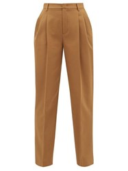 Red Valentino Redvalentino High Rise Cotton Blend Tapered Trousers Dark Beige
