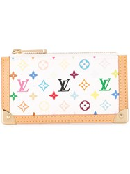 Louis Vuitton Vintage Pochette Cles Coin Case Multicolor White