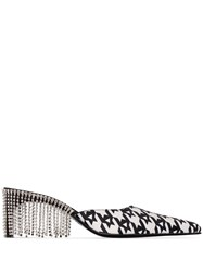 Area Fringed Crystal Embellished 70Mm Houndstooth Leather Mules 60
