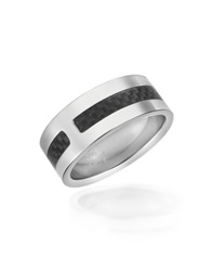 Zoppini Zo Dark Carbon Fiber And Stainless Steel Band Ring Silver