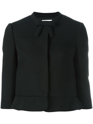 Red Valentino Three Quarters Sleeve Cropped Jacket Black