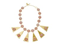 Tory Burch Triangle Stone Statement Necklace Pink Quartz Vintage Gold Necklace