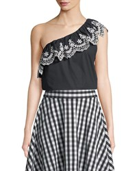 Kate Spade Cutwork One Shoulder Cotton Top Black